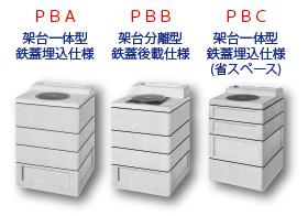 PBA:架台一体型鉄蓋埋込仕様、PBB:架台分離型鉄蓋後載仕様、PBC:架台一体型鉄蓋埋込仕様(省スペース)