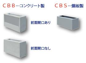 CBB...コンクリート製、CBS...鋼板製、前面開口あり、前面開口なし